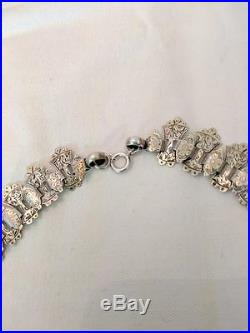 Antique Victorian SOLID SILVER ENGRAVED Collar BOOK CHAIN Necklace Ectrusian