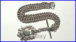 Antique Victorian SOLID silver ALBERT enamel fob pendant watch chain necklace
