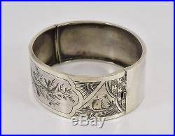 Antique Victorian Solid Silver Aesthetic Hinged Bracelet (James Fenton, 1893)