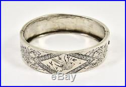 Antique Victorian Solid Silver Aesthetic Hinged Bracelet, c1890