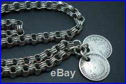 Antique Victorian Solid Silver Albert Watch Chain Necklace T-Bar Tassel c1880