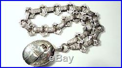 Antique Victorian Solid Silver Engraved Buckle Picture Locket Pendant & Collar