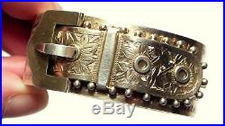 Antique Victorian Solid Silver Gilt Gorgeous Buckle Bangle 1882 Henry Walker