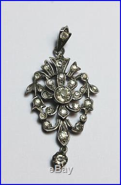 Antique Victorian paste pendant Gothic / Georgian style 800 solid silver C. 1860
