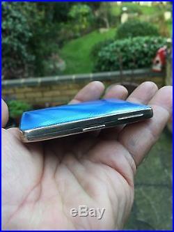 Antique Vintage Blue Enamel Solid Silver Cigarette Case Card Box It Is Not Scrap
