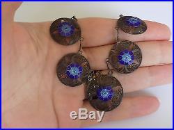 Antique/Vintage Portuguese solid Silver and Blue Enamel filigree necklace
