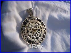 Antique peru 3D silver lapis lazuli pendant pin heavy solid 925 1 oz. Silver