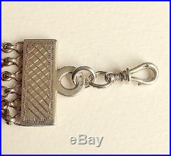 Antique solid silver Dutch pocket watch chatelaine with two signets