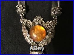 Antique vintage Edwardian pendant necklace solid silver Baltic Amber