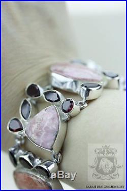 Argentina Rhodochrosite Rhodolite Garnet 925 Solid Silver Bracelet