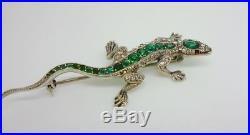 Art Deco KNOLL & PREGIZER 935 Solid Silver Emerald/Diamond Paste LIZARD Brooch