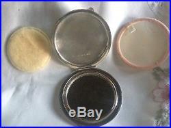 Art Deco Medium Size Solid Silver Guilloche Enamel Powder Compact. HM J. G. Ltd