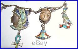 Art-Deco Solid Silver & Enamel Egyptian Revival Fringe Necklace Circa 1920