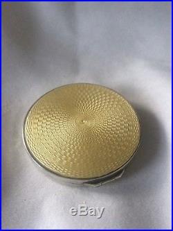 Art Deco Solid Silver Guilloche Enamel Powder Compact. H&H Ld. Birmingham 1930