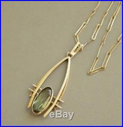 Art Deco Vintage Gilded 835 Solid Silver Green Tourmaline NECKLACE Signed