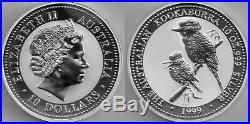 Australia SILVER Kookaburra 10 (TEN) ounce solid silver, 1999