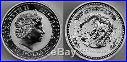 Australia SILVER Lunar series 10 (TEN) ounce solid silver. Year of Dragon 2000