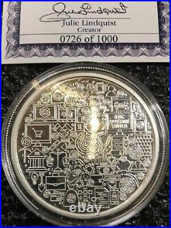 BITCOIN CRYPTO ICON 1 oz. 999 Solid Silver Proof Colorized Coin COA 0726 of 1000