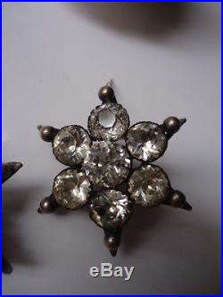 Beautiful Antique Georgian Bright Diamond Paste Solid Silver Flower Star Brooch