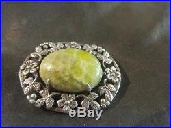 Beautiful Arts & Craft Quality Solid Silver, & Irish Connemara Marble Brooch