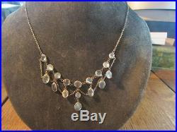 Beautiful Edwardian Quality Solid Silver & Moonstone Festoon Necklace