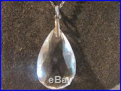 Beautiful Edwardian Rare Solid Silver & Rock Crystal Pendant & Silver Chain