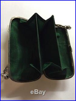 Beautiful English Antique 1909 Solid Sterling Silver Ladies Handbag Finger Purse