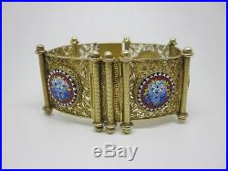 Beautiful Victorian Solid Silver Gilt & Micro Mosaic Bracelet