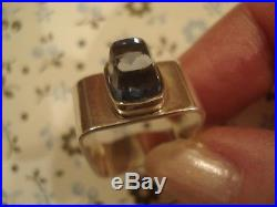 Beautiful Vintage 1970's Scandinavian ModernistBlue Topaz Gem Solid Silver Ring