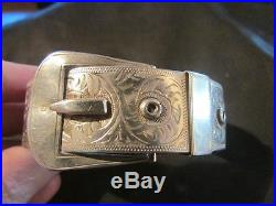 Beautiful Vintage Quality Solid Silver Engraved Buckle Bangle, Chester, 1940
