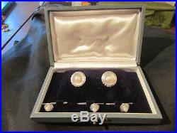 Beautiful Vintage Solid Silver & Cultured Pearl Cuff Links & Collar Studs, Boxed