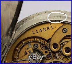 Beautiful vintage ART NOVEAU ULYSSE NARDIN POCKET WATCH SOLID SILVER 900 53 mm