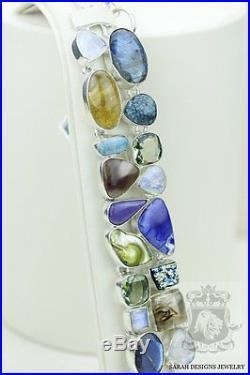 Bertrandite Labradorite Larimar Rutile Quartz Drusy 925 Solid Silver Bracelet