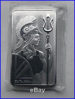 Britannia 10 Oz 999 Solid Silver Bullion Bar Omp Beautiful Majestic Design Lot C