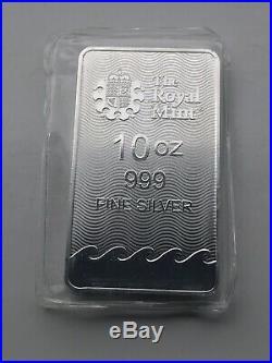 Britannia 10 Oz 999 Solid Silver Bullion Bar Omp Beautiful Majestic Design Lot F