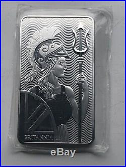 Britannia 10 Oz X 2 999 Solid Silver Bullion Bar Beautiful Majestic Design Lot A