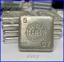 Bullion Bags 5oz Fine Silver Square Bar Handpoured with COA
