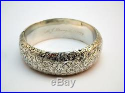 C1879, ANTIQUE 19thC VICTORIAN SOLID SILVER FLORAL ENGRAVED WIDE CUFF BANGLE