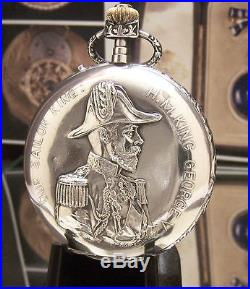 C1910 Rare Antique Repousse Solid Silver King Edward Commemorative Pocket Watch