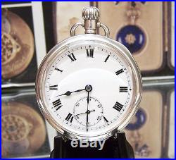 C1914 Rolex Solid Silver Lovely Mans Pocket Watch Serviced Micro Metric Adj