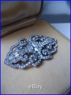 CIRO Stunning Huge Solid Silver Zircon Duette Brooch Dress Clips Vintage 1930s