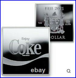 COCA-COLA FIJI 2021 $1 Arden Square Coin 1 OZ. 999 SILVER GEM PROOF