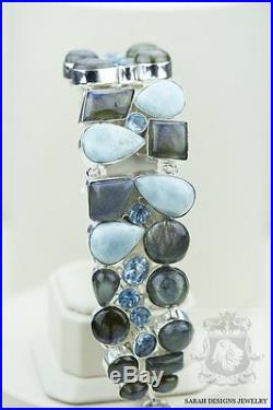 Canadian Labradorite Genuine Caribbean Larimar 925 Solid Silver Bracelet
