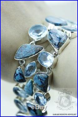 Chrysocolla Azurite Malachite Cuprite Aquamarine 925 Solid Silver Bracelet