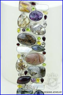 Chunky Size! Sugilite Ocean Jasper Labradorite Citrine 925 Solid Silver Bracelet