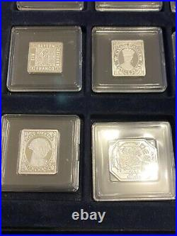 Collection Of 12 x Fine. 999 Solid Silver Stamp Ingots -The Worlds Rarest Stamps