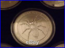 Collection of 10 Solid silver bullion coins with cases and display box