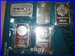 Collector Set of FIVE x 1oz Guaranteed 999 Solid Silver Bars Engelhard etc
