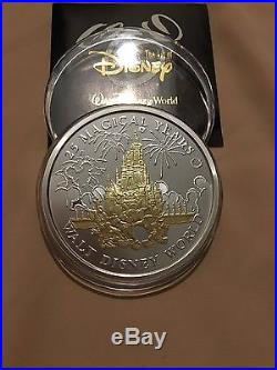 Disney World 25 Magical Years 5 Troy Oz Solid. 999 Silver Coin / Medallion Gold