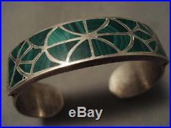 Earlier Vintage Navajo Ingot Silver 999 Solid Malachite Silver Bracelet